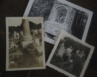 3 Original Vintage Graveyard Photos