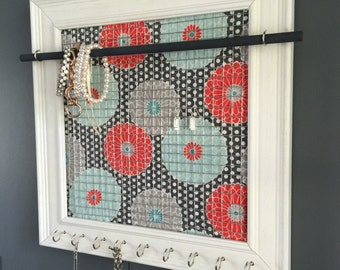 Jewelry Holder, Jewelry Organizer, Coral & Blue Flowers, White Polka Dots, Weathered White Frame with 9 Silver Hooks
