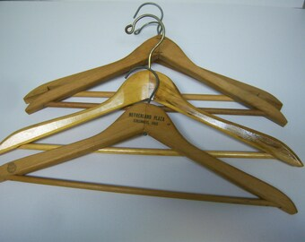 Six Vintage Wooden Hangers, Wood Clothing Hangers, Vintage Hangers, Suit And Pants Hangers, Three Marked, Clothes Hangers, Display Hangers