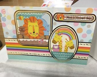 Handmade 3D Noah's Arc Animal Birthday Card -