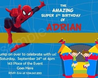 Spiderman Invitation. Spiderman Bounce House Invitation. Spiderman Birthday Invitation. Spiderman Printables. Digital (you print)