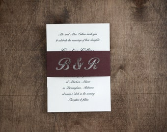 Monogram Wedding Invitation Belly Band / Wedding Invitation Enclosure