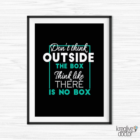 Think outside the box quote inspirational office wall art for Motivational quotes for office cubicle