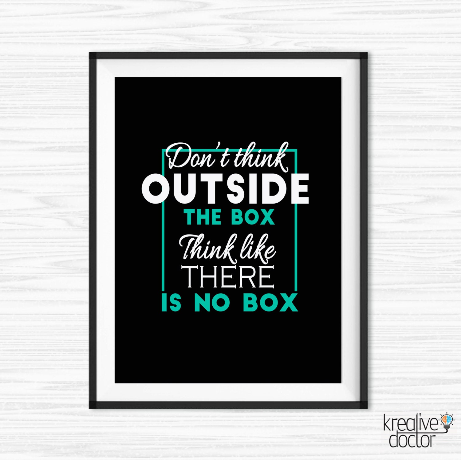 Inspirational Quotes Office Work: Think Outside The Box Quote Inspirational Office Wall Art