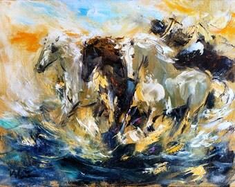 Horse painting, Giclee Canvas Print, Oil painting print, Modern horse artwork, Large Horse wall art print, Horse Wall decor, Animal print