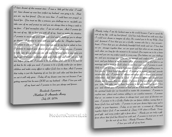 Set of 2, Your Wedding Vows on canvas, personalized wedding gift, grooms gift, bridal gift, wedding keepsake, cotton anniversary gift