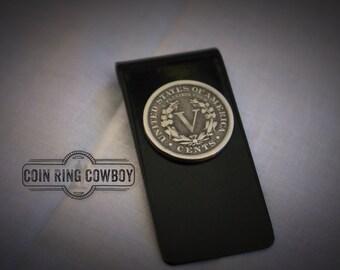 Silver US nickel money clip