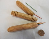 stocking stuffer, gift under 15 dollars wooden toothpick holder or needle case, pocket sized, handturned from oak wood, light brown in color