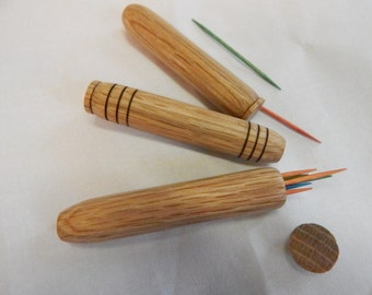 Easter gift,, gift under 15 dollars wooden toothpick holder or needle case, pocket sized, handturned from oak wood, light brown in color