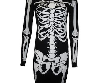 Ladies Womens Skeleton Bone Halloween Bodycon Top Tunic All Sizes