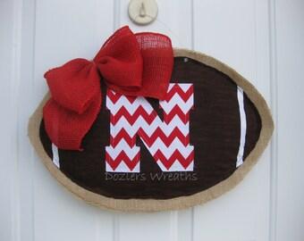 Nebraska Football Burlap Door Hanger - N - Huskers - Go Big Red