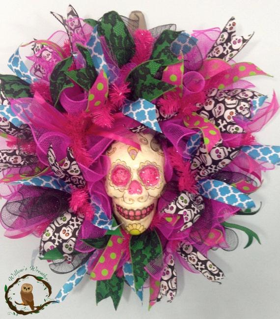 Dia de los Muertos Wreath. Day of the Dead by WillowsWreathsCo