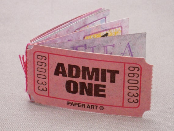 Artist's Book, Miniature Artist's Book, Miniature Book, Handmade Book, Flea Circus, Circus, Flea, Pink, Funny, Humor, ticket, Admit One