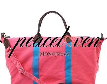 Monogrammed Cora&Aqua Two Tone Large Weekender Bag Tote