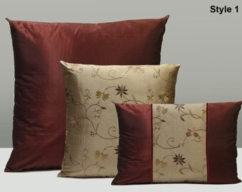 """Burgundy Taffeta Polyester and Smoky Tan Silk with Embroidery Decorative Throw Pillow Cover Set of Three,20""""x20"""",16""""x16"""",12""""x16"""",Home Decor."""