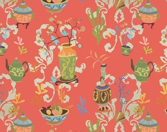 KRAVET COUTURE Lee Jofa Chinoiserie VASES Teapots Toile Linen Fabric 10 Yards Persimmons