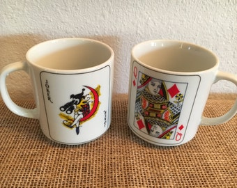 Vintage Joker and Queen Playing Cards Mugs Japan Set of 2