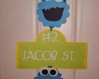 Cookie Monster Birthday Street Sign
