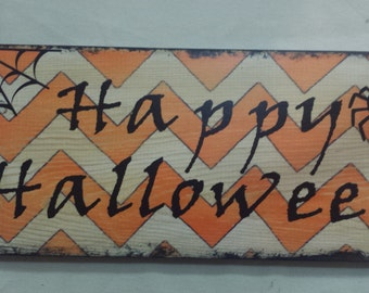 Happy Halloween Wood Sign with Spider and Web