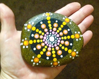 Mandala Hand Painted Rock #HG706