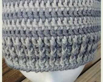 Men's Grey tones beanie/skullcap. Grey stripes, beanie, boys.