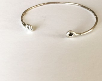 Sterling Silver Bracelet with Rough Diamonds