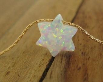 Star of David necklace, opal necklace, Jewish necklace, Jewish jewelry, opal jewelry, 14k gold filled chain, Star of David, gold necklace