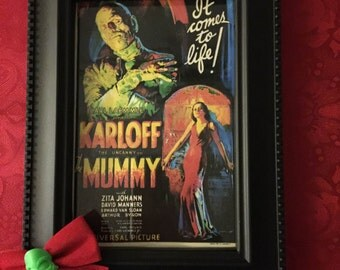 Karloff Mummy Movie Poster In Decorative Frame Halloween Home Decor