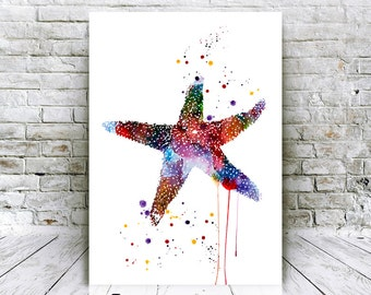 Seastar Watercolor Poster - Digital Download Giclee Art Prints - Home Decor - Affordable Art Gifts