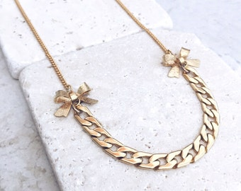 Bow necklace, uoniqe gold necklace, gold bow, romantic necklace, gift for her