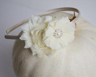 Flower Girl Headband, Ivory Headband, Girls Ivory Headband, Wedding Headband, Ivory, Flower Girl, Birthday Headband, Holiday Headband