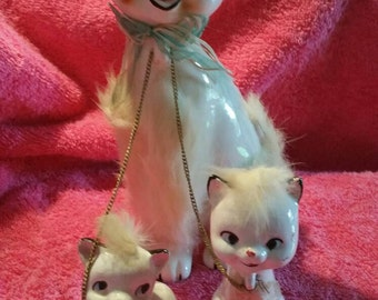 Vintage Cat with glasses and kittens cat figurine