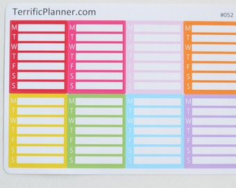 8 Multi Color Weekly  Sidebar Stickers  Perfect for planners like Erin Condren, Plum Paper, Happy #052