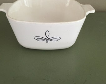Corning Ware Casserole Dish Black Trefoil Vintage Pyrex Cookware White Atomic Decal Mid Century