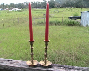 Pair of Brass Candlesticks  Wedding Romantic Vintage Candle Holders Tapered Patina Deep Creek Shabby Decor