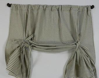 Ticking Stripe Valance, Farmhouse Curtain, Window Valance, Ticking Stripe Window Topper