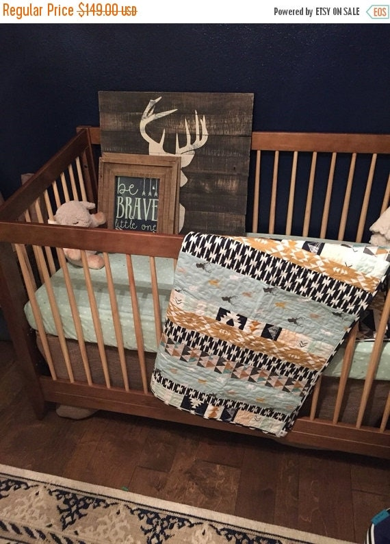 Baby Quilt Rustic Crib Quilt Crib Bedding Baby Boy Strip