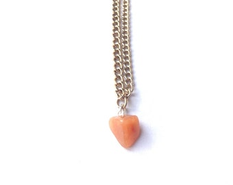 Crystal Orange Necklace Choker Bead Chip Point Gemstone Golden Necklace Clasp Indie Alterative Jewelry Jewellery Triangle Tip Point