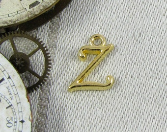 """Gold Script Letter """"Z"""" Charms 1 or 5 letters per package  ALF018z-GL"""