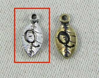 "Silver Letter ""Q"" (1 each) on a Leaf Charm, 1 each per package. ALF017q"