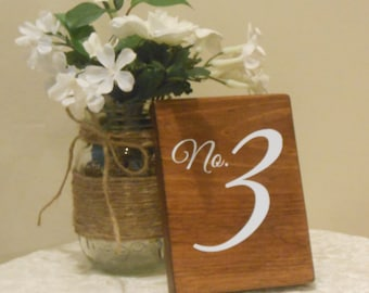 Wood wedding table numbers, rustic table number,