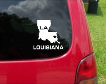 2 Pieces Louisiana LA State USA Outline Map Stickers Decals 20 Colors To Choose From.  U.S.A Free Shipping