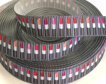 7/8 inch Lipstick Black  White Stripes - Lipsticks - Make up - Stylist - Cosmetics Beautician - Artist - Printed Grosgrain Ribbon