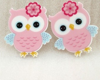 1 Piece -   NEW Light Pink Owl Flat Resin  - Approx.  1 1/2 inch Flat Back Resin Accent 13244-2
