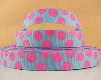 7/8 inch Light Pink Glitter polka Dots on Turquoise - Printed Grosgrain Ribbon for Hair Bow
