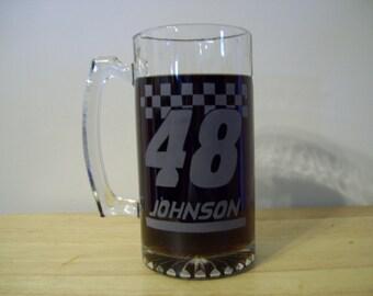jimmie johnson etched beer mug