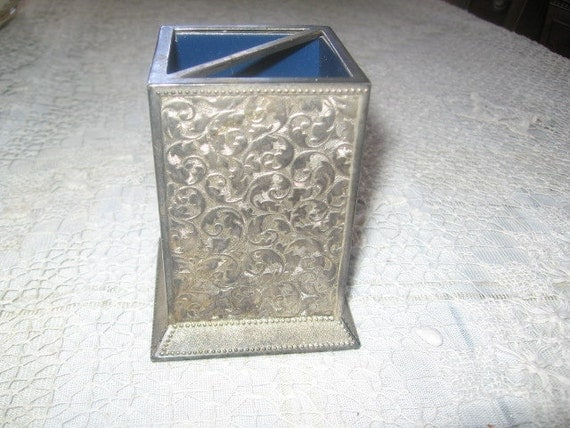 Wooden Pen Stand Designs : Metal filigree pen desk organizer silver plated box