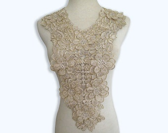 Venice Gold lace Collar Appliques,Floral Emboridered Collar 1 piece(129-83)