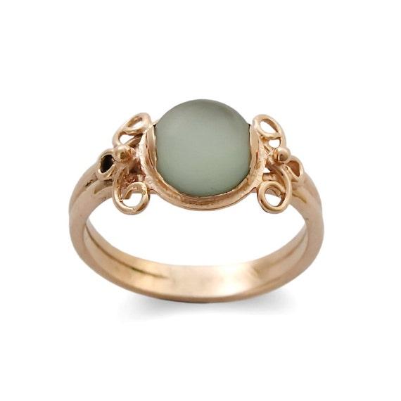 Goldring matt  14 k Rose gold Ring Ring grün Quarz Matt Stone Ring