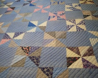 Antique hand stitched cotton quilt/Quilt in shades of blue/Coastal or beach inspired quilt/Picnic blanket/Bed & Breakfast decor/Cottage chic